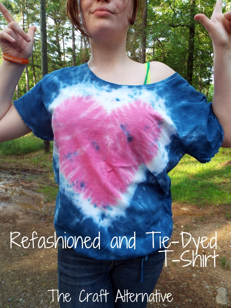 Refashioned and Tie-Dyed T-shirt