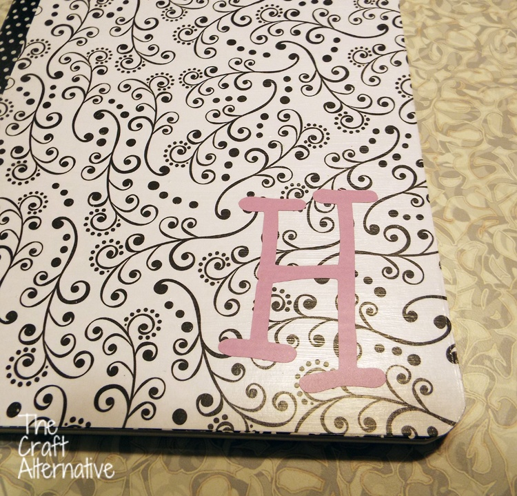 Adding Scrapbooking Paper and Washi Tape to a Composition Notebook_Monogram