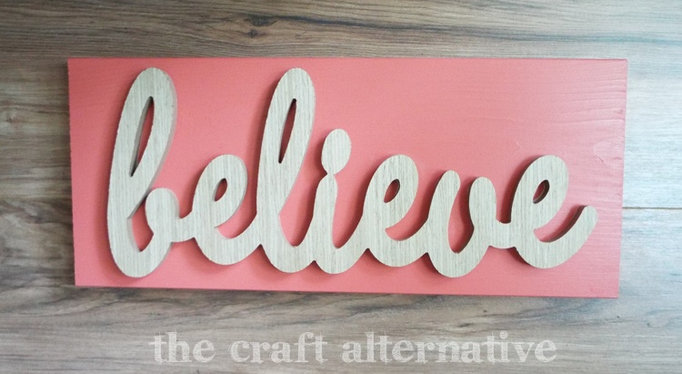 diy word wall art - completed