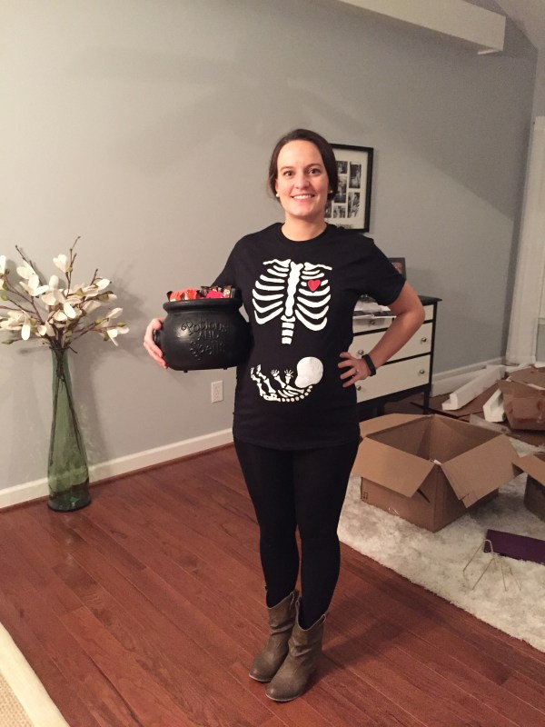 Skelemommy with Skelebaby Halloween T-Shirt - Freezer Paper Transfer