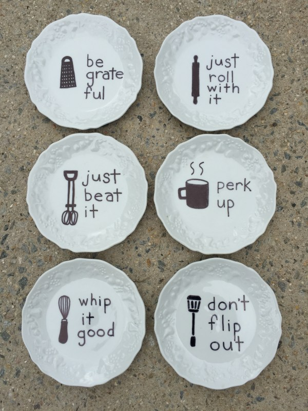 Cute Kitchen Art on Thrift Store Plates - Baked Sharpie