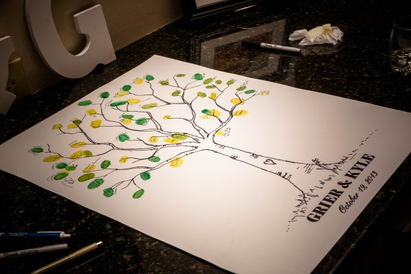 Wedding Guest Book Name Tree with Thumb Print Leaves
