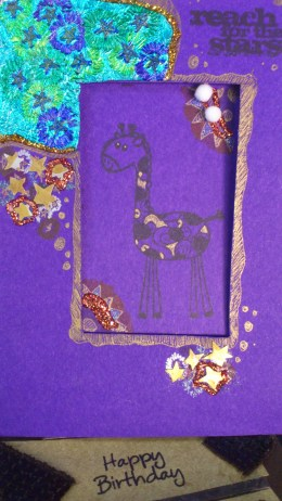 The shiny metallic foil offers the starry night for this giraffe. This card was sold during the Pawsome Bazaar