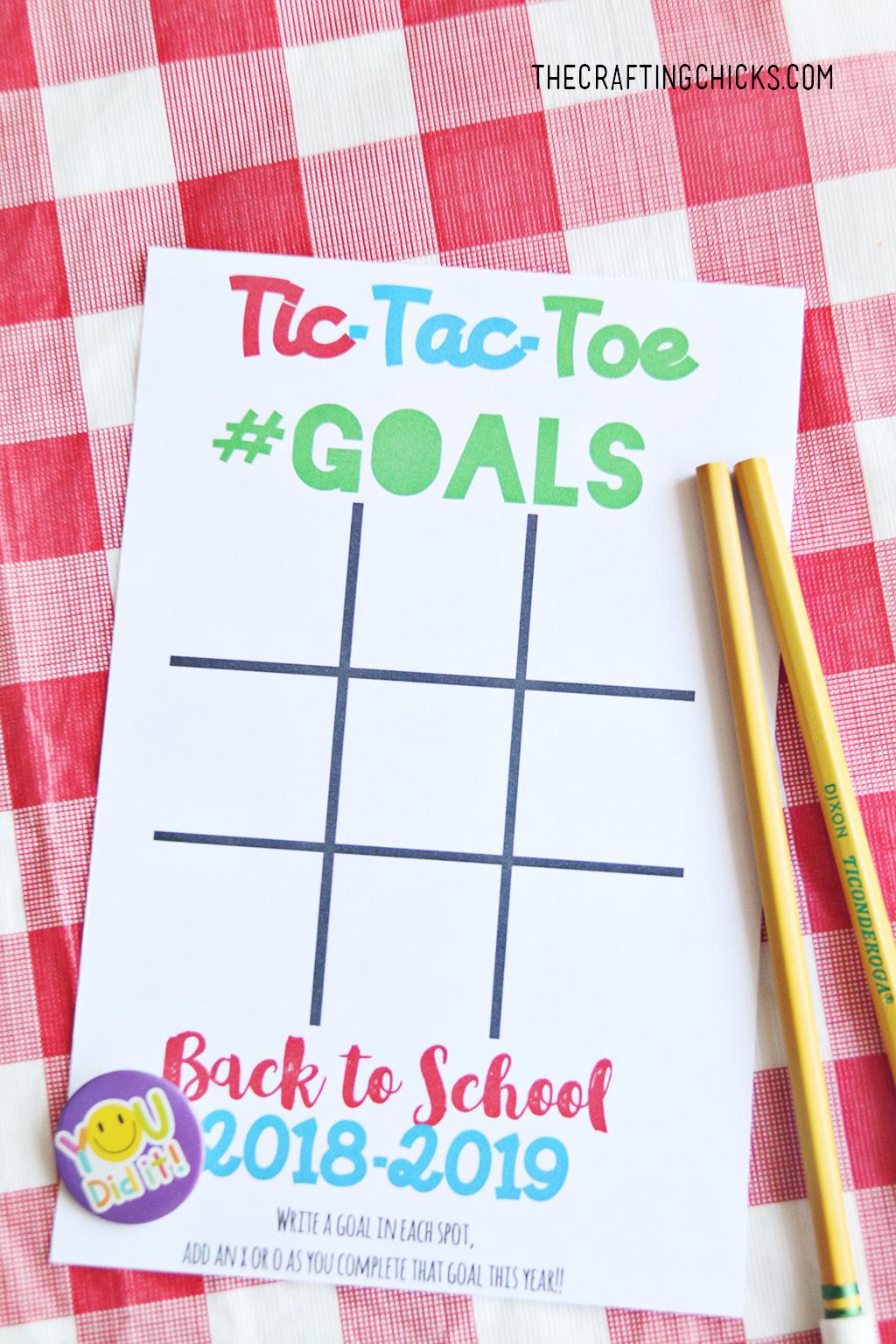 Back To School Goal Setting Tic Tac Toe