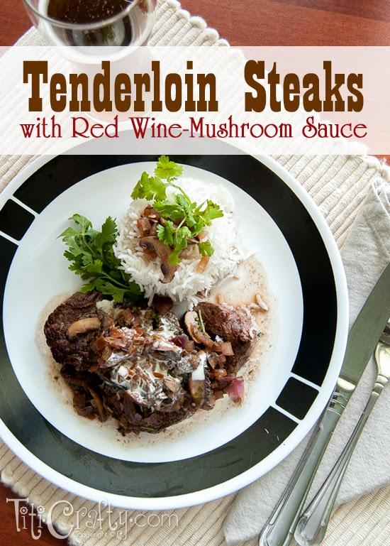 Tenderloin Steaks with Red Wine Mushroom Sauce Recipe