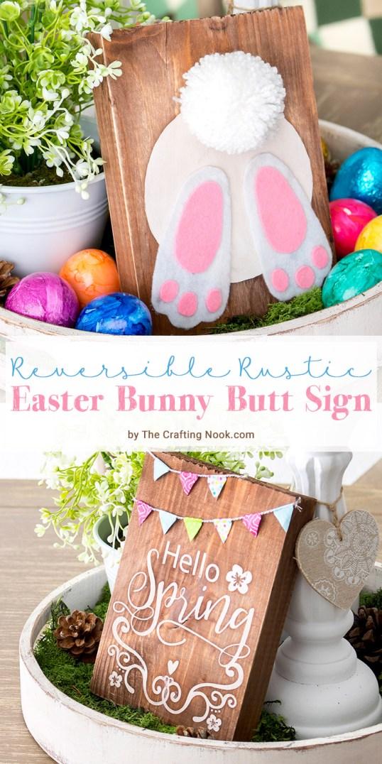 DIY Reversible Rustic Easter Bunny Butt Sign