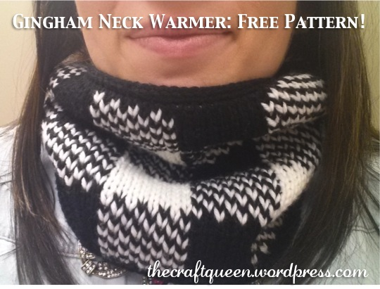 57. Knitting: Double Knit Gingham Neck Warmer (free pattern!) (3/3)
