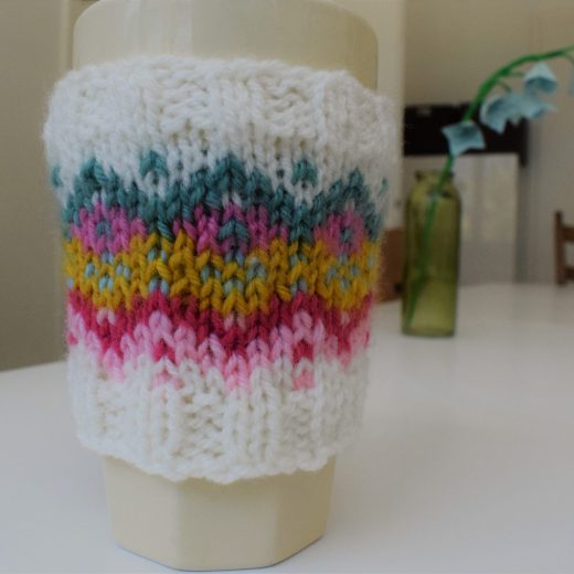 Fair isle knitted cup cozy