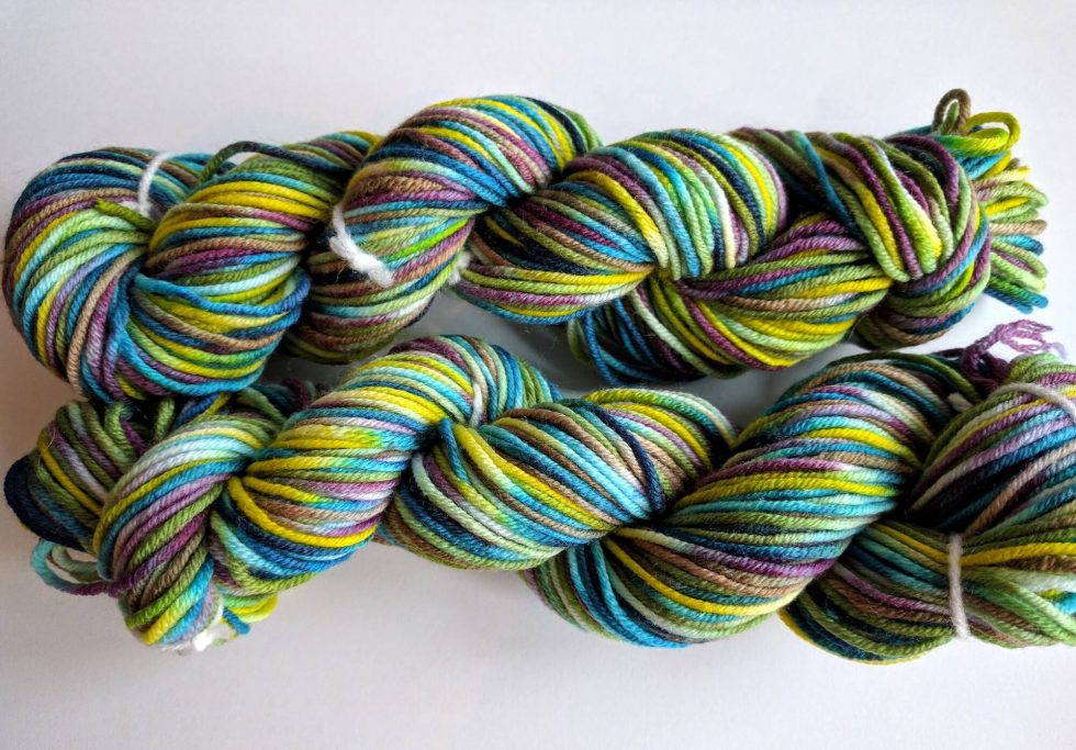 2 skeins of hand dyed yarn