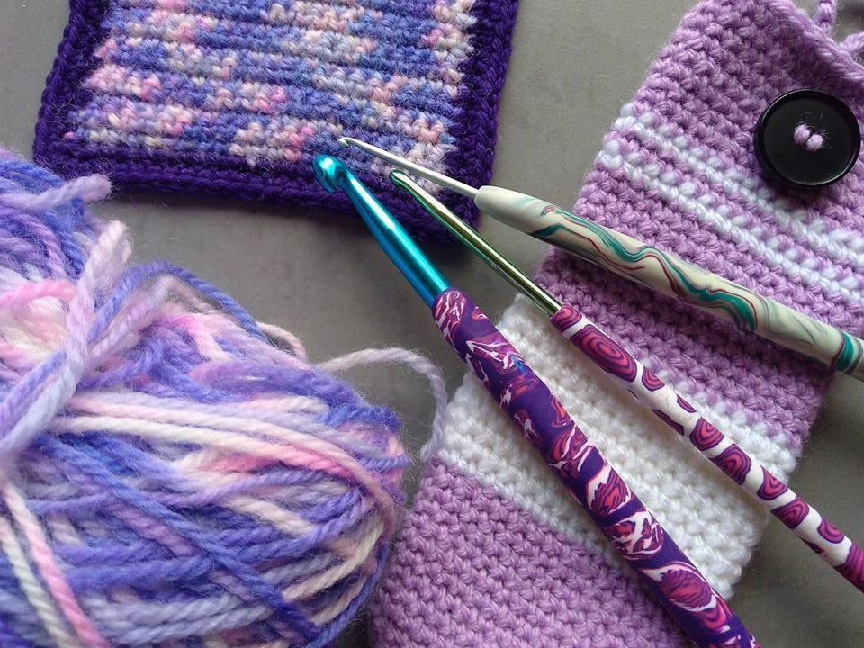 Crocheted items, yarn and crochet hooks