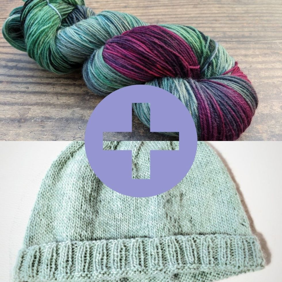 hand dyed yarn and knitted hat