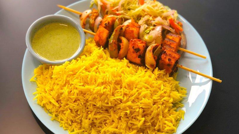 Yellow rice, Paneer tikka platter