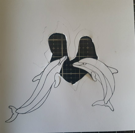 Dolphin outline with cut out