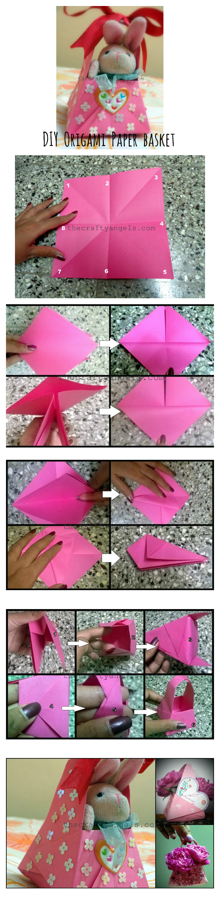 DIY Origami paper basket collage