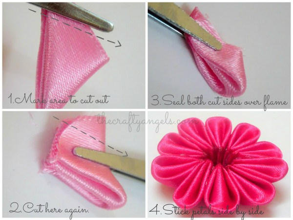 Kanzashi ribbon flower tutorial (1)
