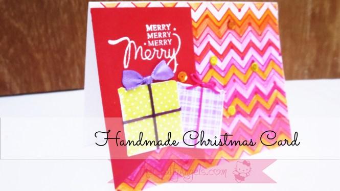 Handmade christmas card with goft box chevron pattern (2)