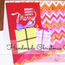 Handmade christmas card with goft box chevron pattern (2)