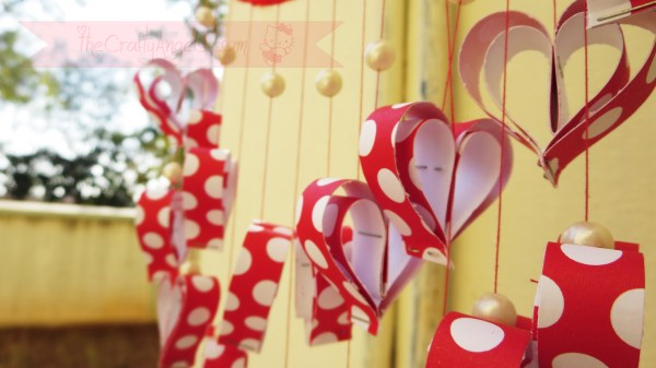 Paper hearts wall hanging