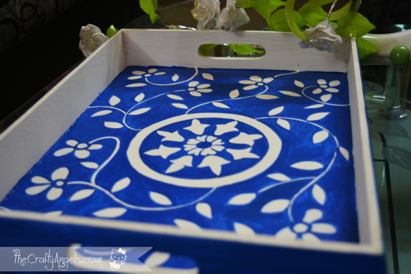 handpainted serving tray, serving tray, DIY home decor, Jaipur, blue pottery
