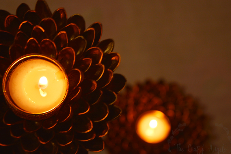 Easy to make DIY pistachio shell candle holder for diwali decoration, diwali decor, pista shell craft, pista shell reuse, pistachio shell craft, pistachio shell recycle, recycle craft, diwali decor, diya holder, diwali diya