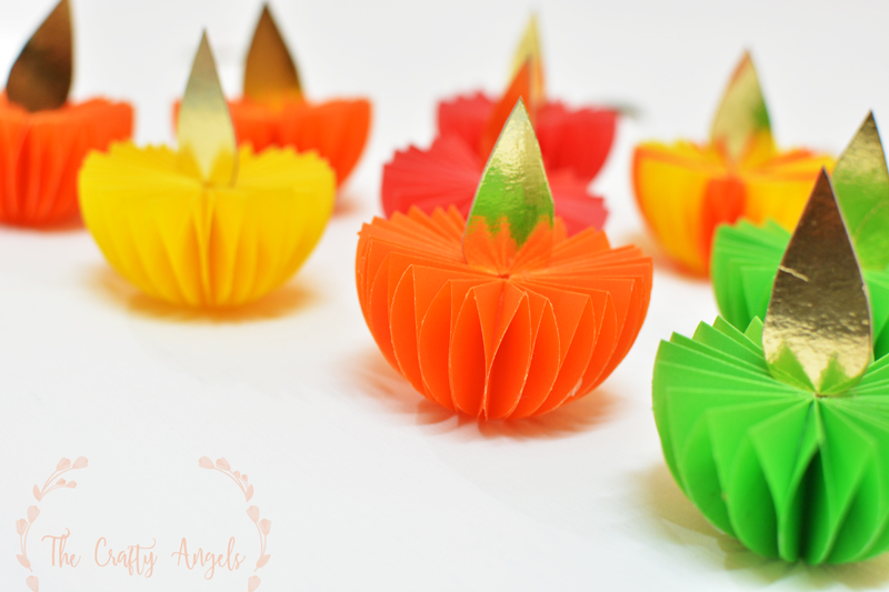 Diwali craft paper diya tutorial for Art and craft for diwali decoration