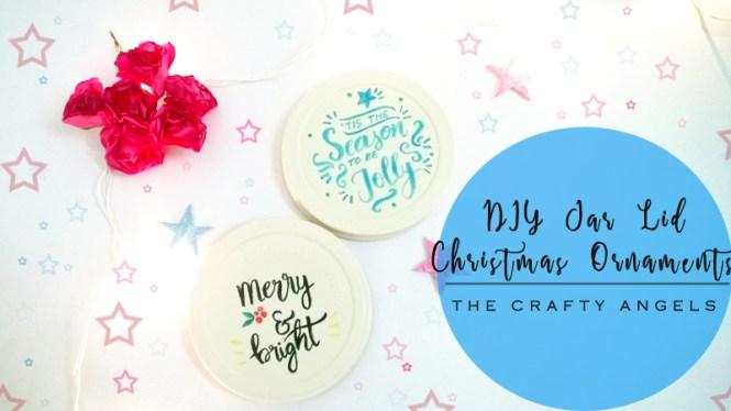 christmas crafts, DIY Jar Lid Christmas Ornaments, christmas tree ornament, DIY jar lid christmas ornament, DIY ornament, tree ornament, recycle ornament, calligraphy, brush calligraphy, handwritten christmas sentiments