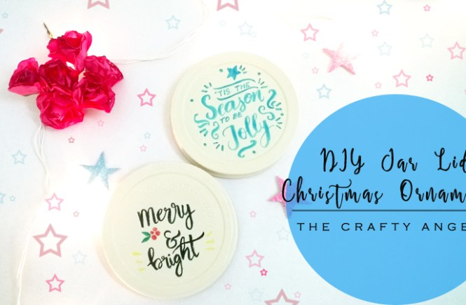 christmas crafts, christmas tree ornament, DIY jar lid christmas ornament, DIY ornament, tree ornament, recycle ornament, calligraphy, brush calligraphy, handwritten christmas sentiments