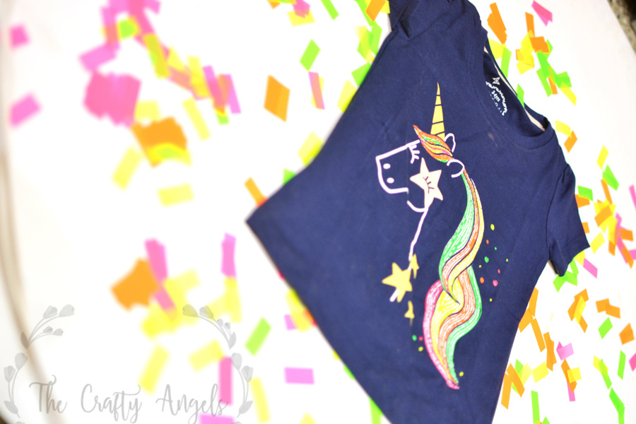 DIY Unicorn T-shirt with Fevicryl 3D Neon liners, 3D liners