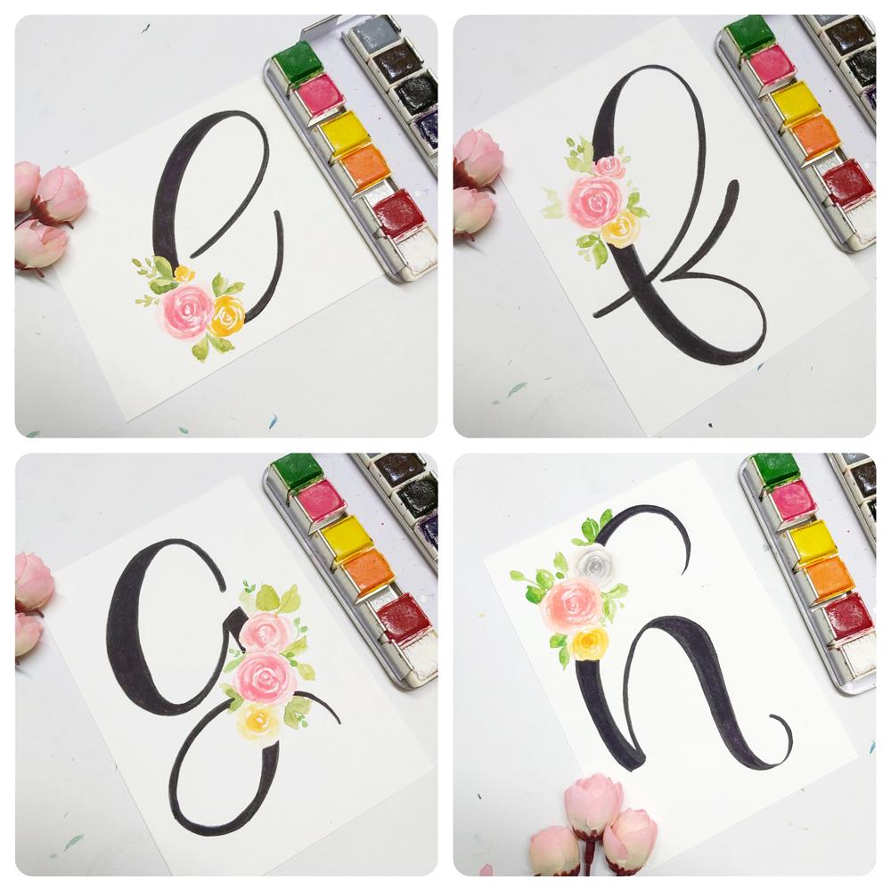 Floral alphabet monogram e, floral alphabet monogram f, floral alphabet monogram g, floral alphabet monogram h