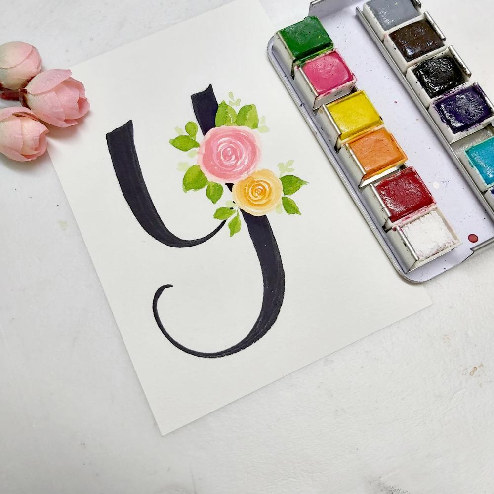 floral monogram alphabet y