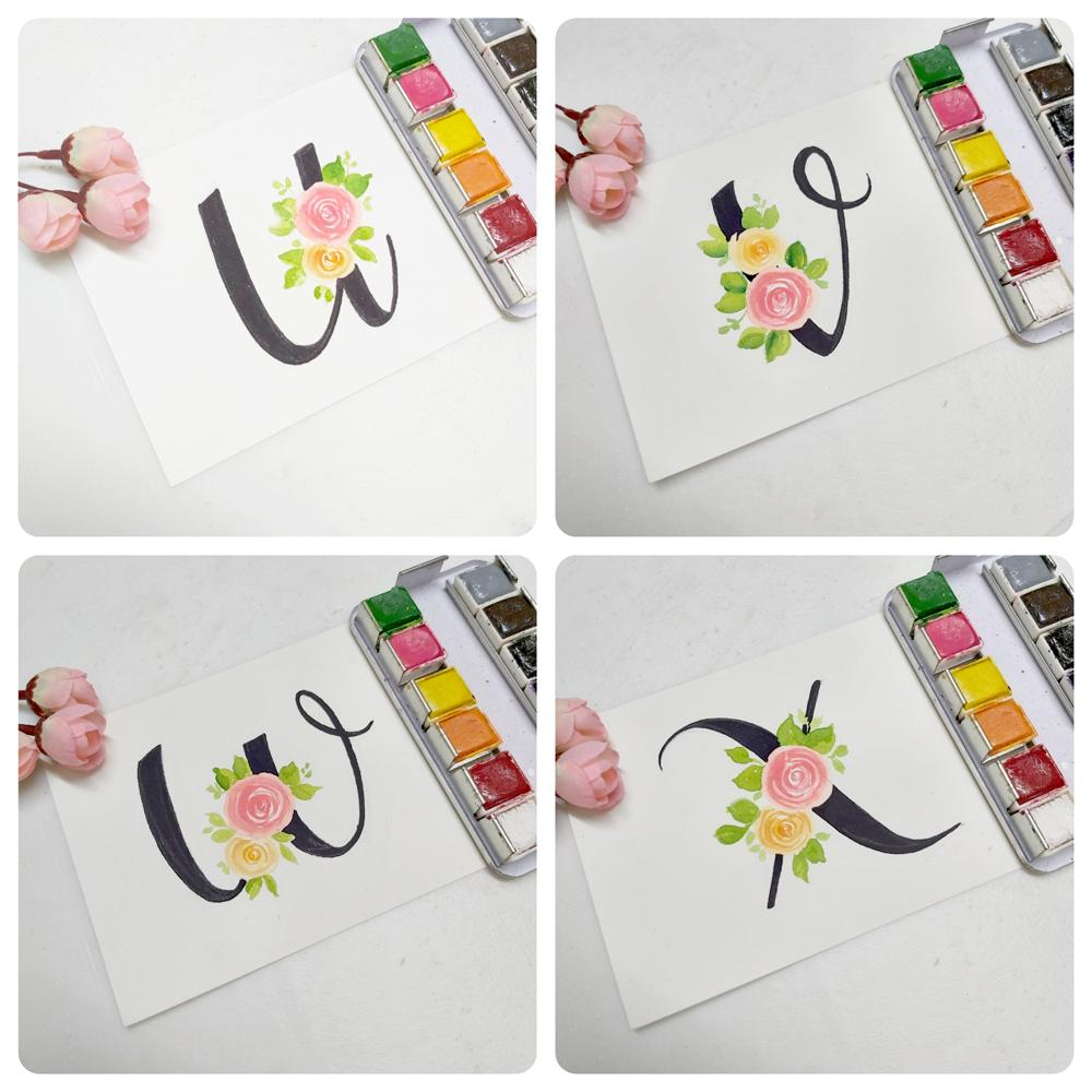 floral monogram alphabet u, floral monogram alphabet v, floral monogram alphabet w, floral monogram alphabet x