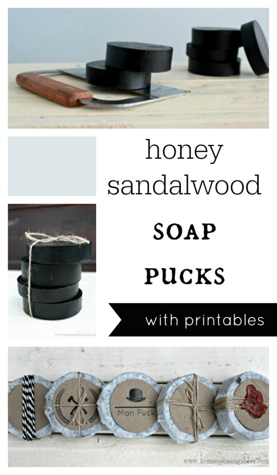 Honey Sandalwood Soap Pucks are a great Man Gift Idea. DIY Soap recipe takes 30 Minutes, PLUS a free printable perfect for gift giving.