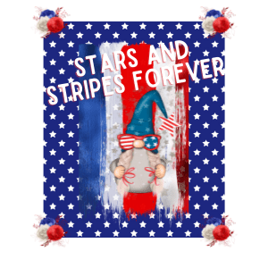 Red white and blue gnome printable with starts and stripes forever