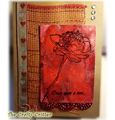 Handcrafted Valentine's Day Card - Hearts and Flowers