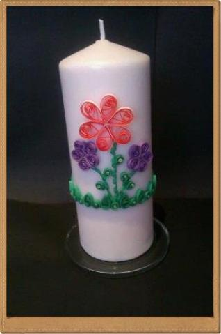 4. Quilled Creations by me decorated candle