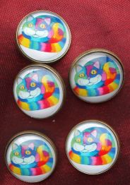 15. Handmade Vintage Style Glass buttons colourful cat
