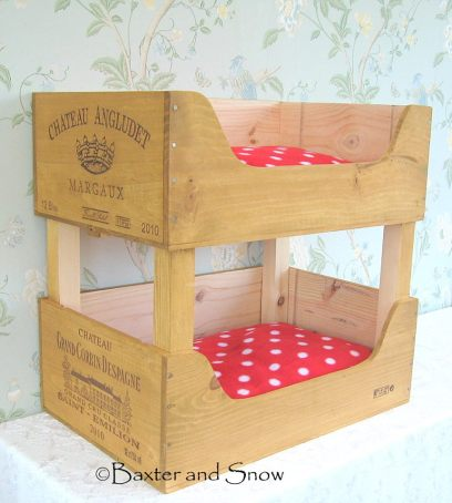 2. Baxter and Snow - recycled wooden wine boxes cat bunk beds