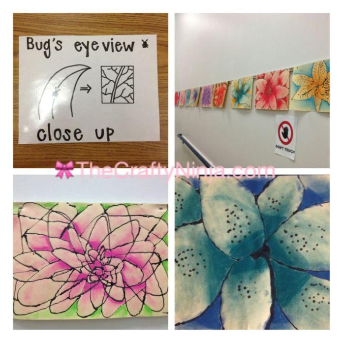 chalk pastel flower project