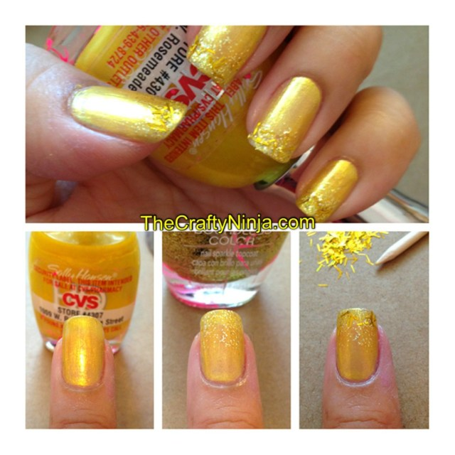 diy glitter gold nails