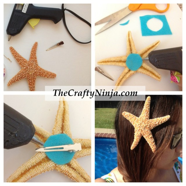 diy starfish hair clip