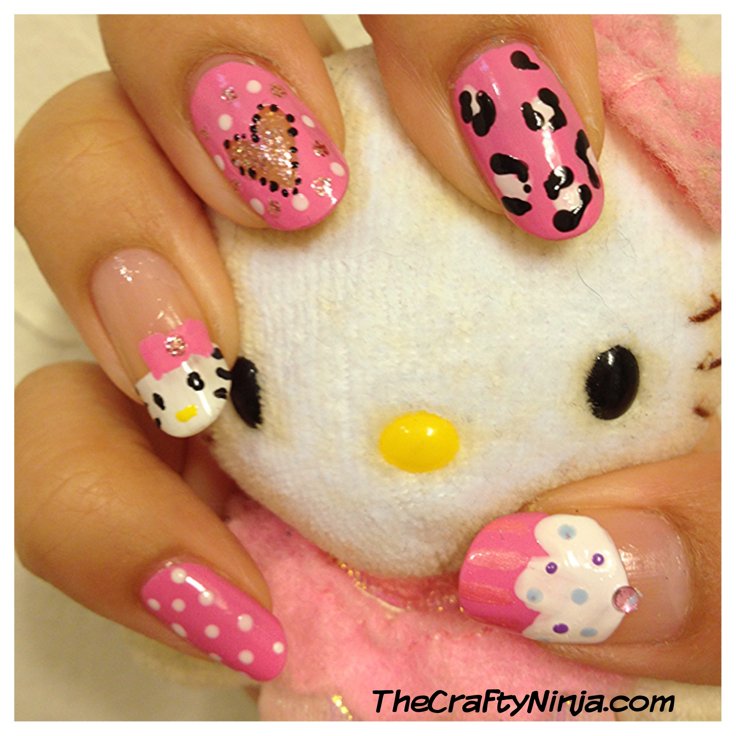 Hello kitty cupcake nails the crafty ninja here are the steps to create these yummy cupcake nails 1 apply clear base coat paint the tip of your nails i used revlon cupid 2 prinsesfo Images