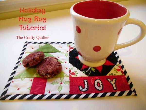 Holiday Mug Rug Tutorial at The Crafty Quilter