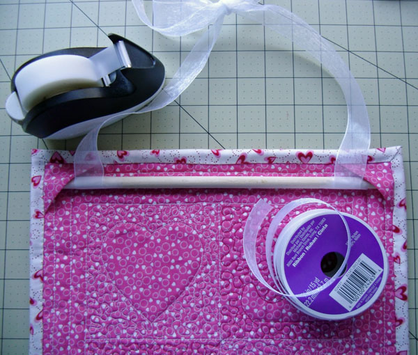 Love back with dowel and ribbon