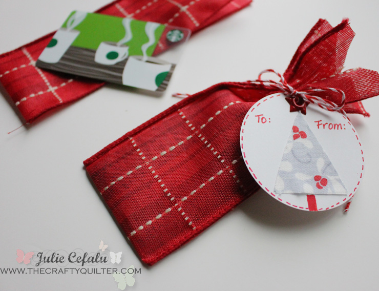 Gift Card Holder made from wide ribbon @ The Crafty Quilter