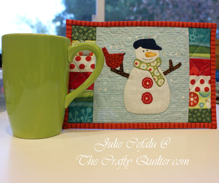 Snowman Mug Rug made by The Crafty Quilter.  Pattern by The Patchsmith