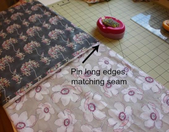 Pin long edges arrow