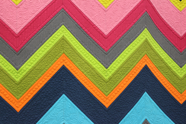 "Quilting detail of ""Modern Chevron Remix"" by Cynthia Whitten"