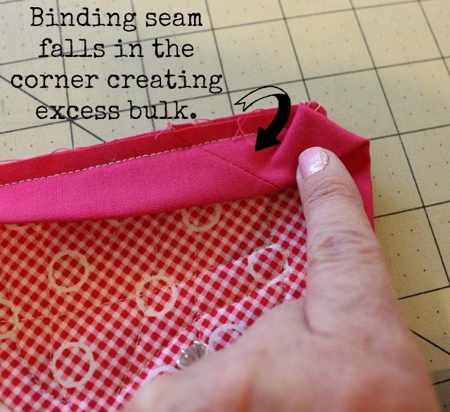 binding seam in corner