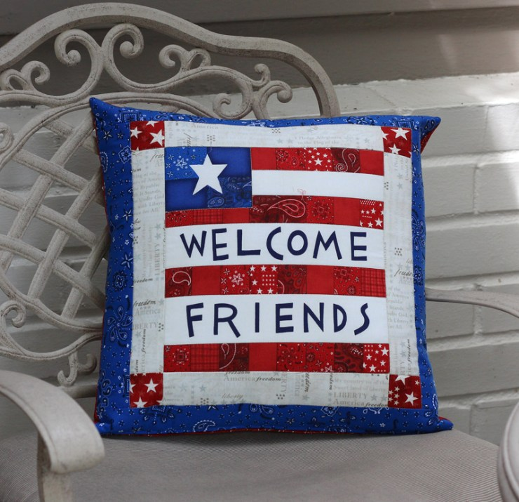 Welcome friends pillow by Julie Cefalu @The Crafty Quilter
