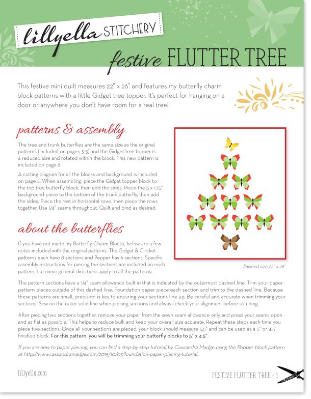 Festive Flutter Tree, free mini quilt pattern at Lillyella